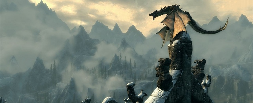 kurios r ckw rts fliegende drachen am himmel von skyrim. Black Bedroom Furniture Sets. Home Design Ideas
