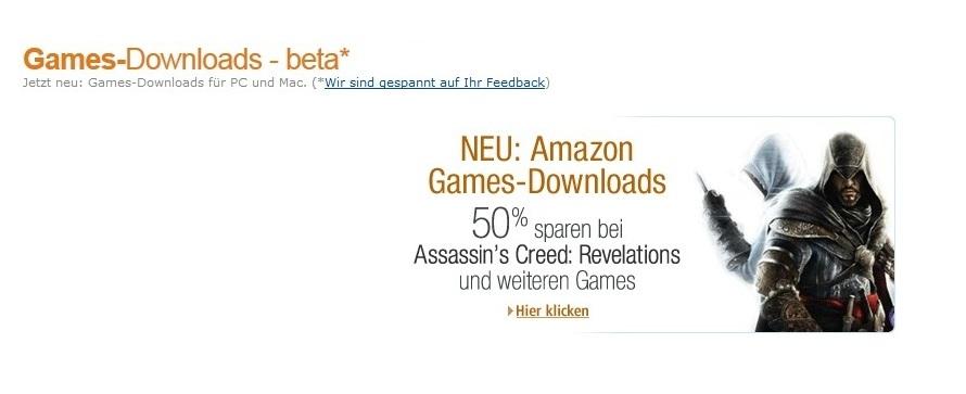 Amazon bietet nun auch PC-Spiele zum Download an