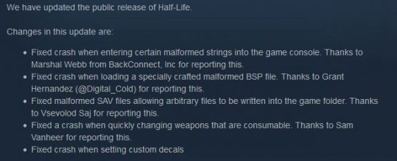 Half-Life patch notes